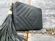 Chanel Green Caviar Leather Classic Camera Bag Tassel NEVER CARRIED