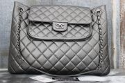 Chanel 13B Charcoal Grey Quilted Leather Large Shopping Tote