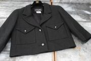 Chanel Short Boxy Black Cotton Tweed Jacket 36 4