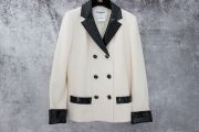 Chanel Ivory Jacket with Black Patent Leather Trim 40