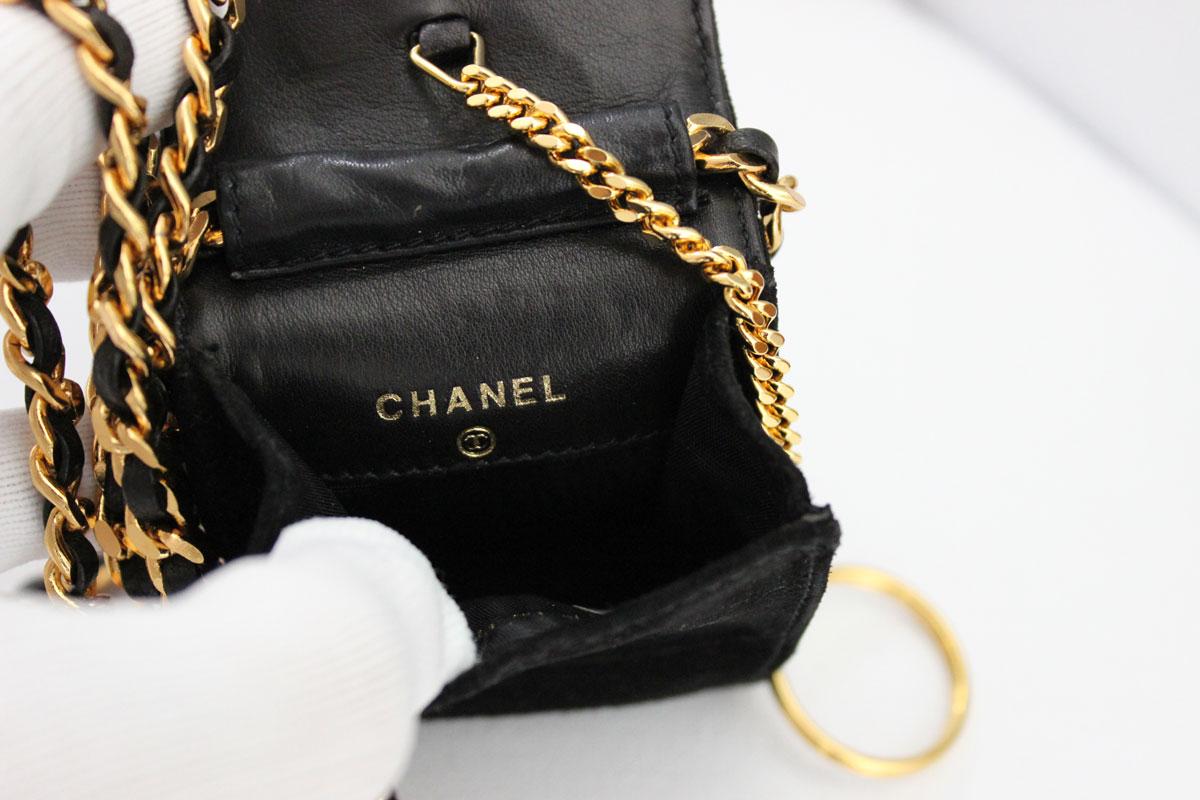 Chanel Cc Suede Crossbody Key Amp Bill Holder