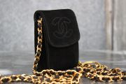 Chanel CC Suede Crossbody Key & Bill Holder
