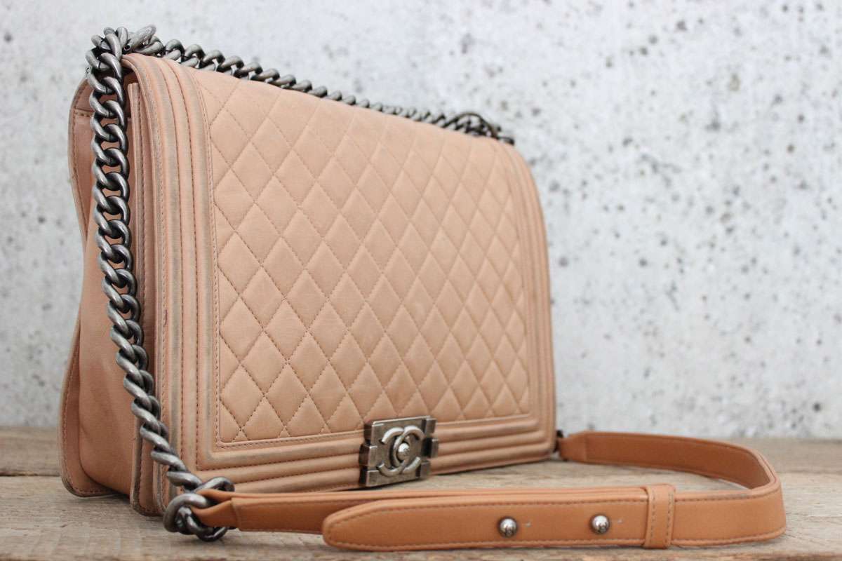 Chanel Tan Leather Large Le Boy Bag Tap To Expand