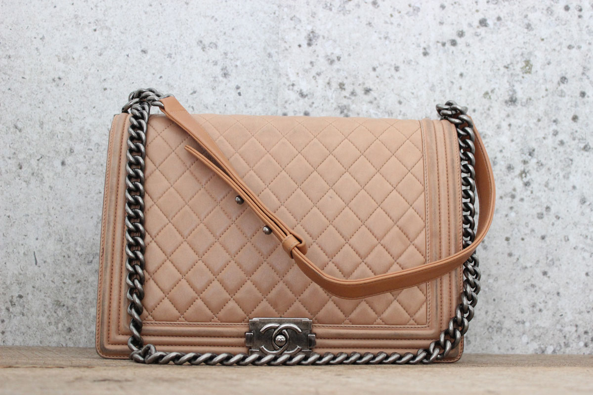6cbfeaed2b19 Chanel Tan Leather Large LE BOY Bag