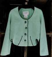 Chanel Light Green Cotton Tweed Cropped Jacket