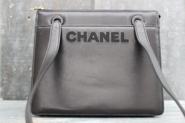 Chanel Black Vintage Smooth Lambskin Logo Tote