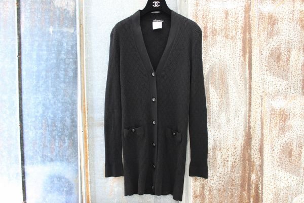 Chanel Black Knit Long Cardigan Sweater
