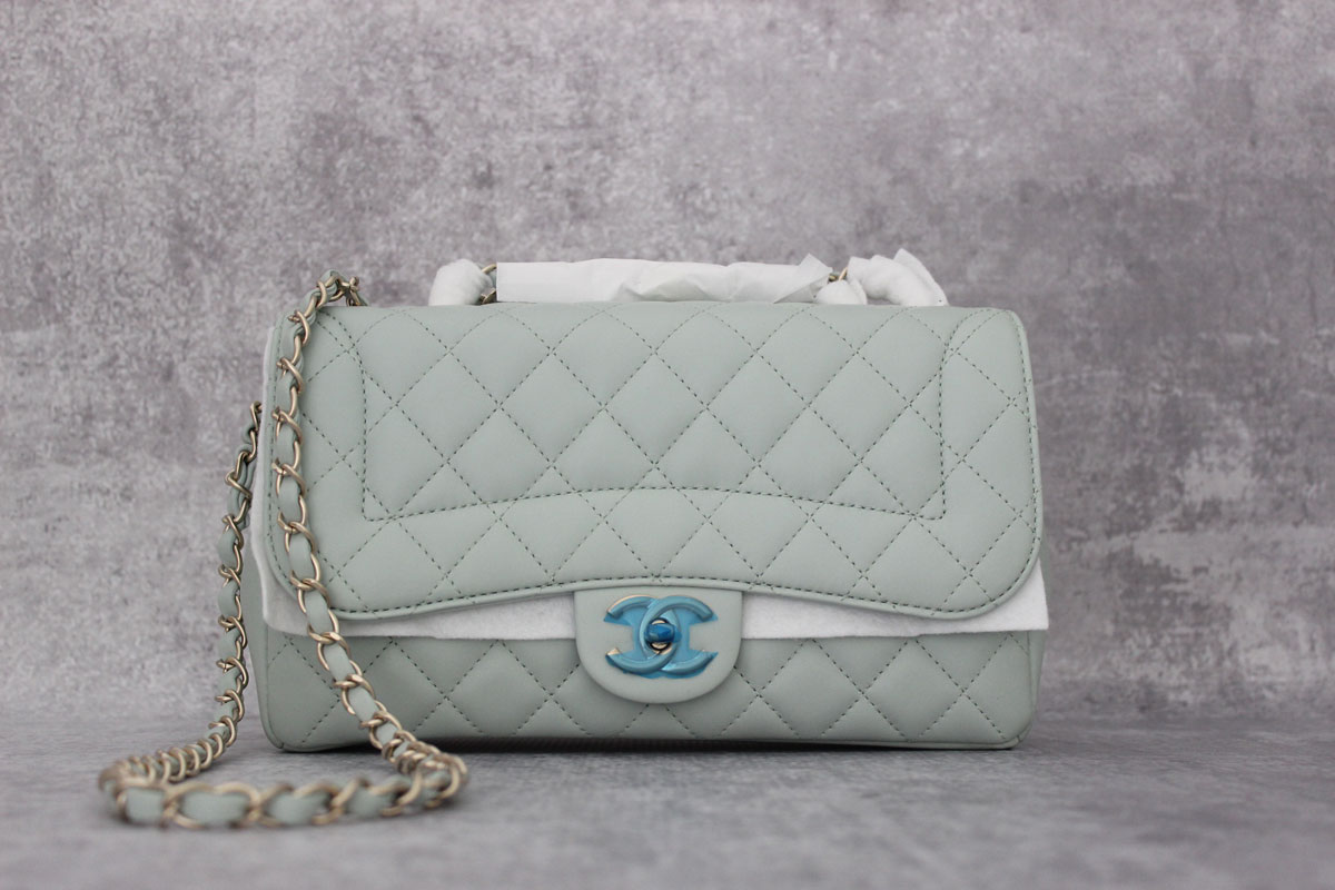 01a11901313e23 Chanel Mademoiselle Chic Flap Bag Mint Green at Jill's Consignment