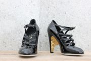 Chanel Black Patent Leather High Heel Mary Janes 9