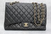 Chanel Black Quilted Lambskin Classic Maxi Single Flap Bag