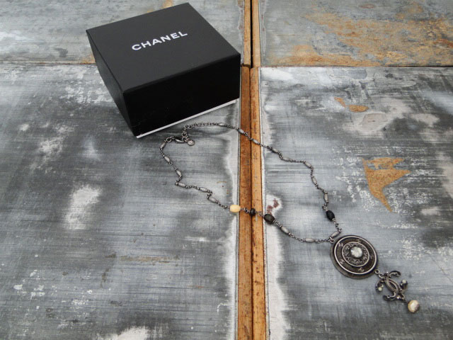 Chanel Bead Pearl CC Medallion Necklace