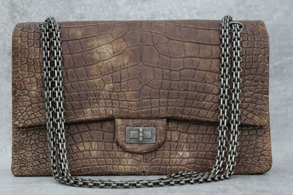 Chanel Alligator Reissue 255 Double Flap Bag Brown