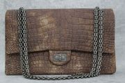 Chanel Brown Gold Shimmer Crocodile Reissue 255