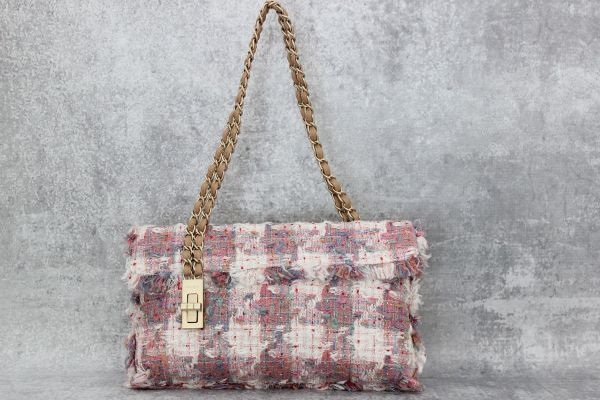 Chanel Multicolor Tweed Vertical Lock Flap Bag