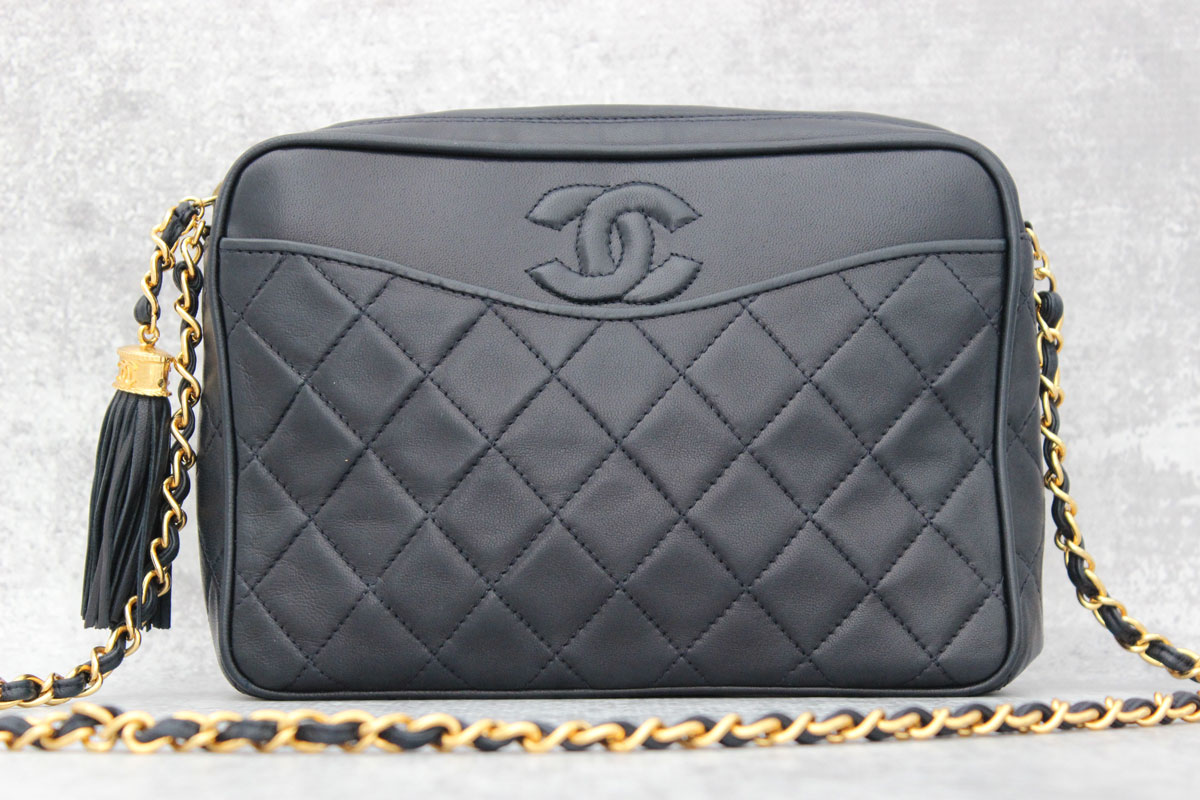 936325221b8e Chanel Vintage Navy Quilted Lambskin Camera Bag at Jill's Consignment