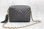 Chanel Navy Diagnonal Quilt Camera Bag