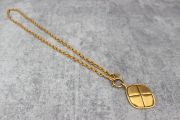Chanel Vintage Gold Plated Quilted Pendant Necklace