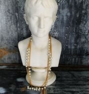 Chanel Vintage Necklace Belt Gold Chain & Costume Pearl 35""