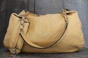 Chanel Pale Yellow XL Lambskin Shoulder Bag Tote