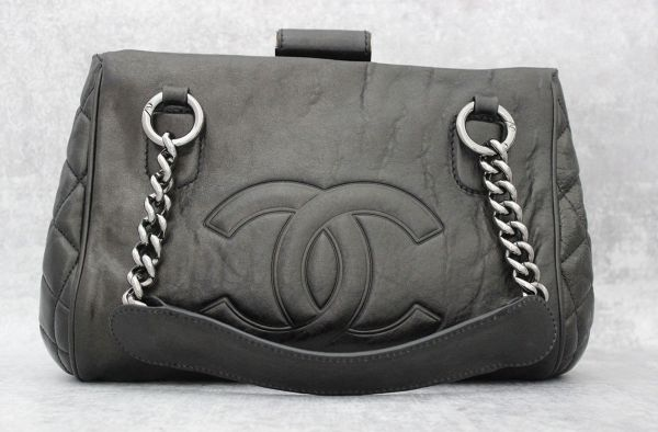 Chanel Black Distressed Calfskin Perfect Day Tote