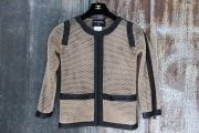 Chanel Beige & Black Perforated Jacket Cardigan 4