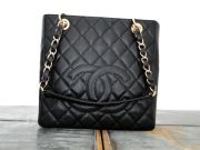 Chanel Petite Shopping Tote Black PST Caviar Leather