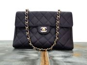Chanel Purple Caviar Flap Shoulder Bag