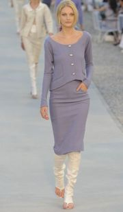 Chanel 12C Runway Purple Wool Skirt Suit