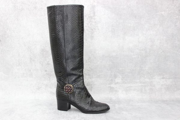 Chanel Python Embossed Jeweled Knee High Boots