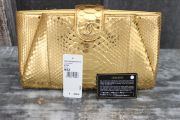 Chanel 2014 Gold Python CC Clutch Bag