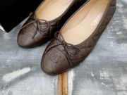 Chanel Bronze Quilted Leather Ballet Flats
