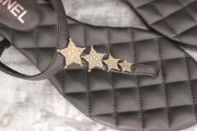 Chanel Black Quilted Leather CC Star Thong Sandals