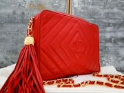 Chanel Red Quilted Lambskin Classic Camera Bag Tassel