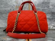 Chanel Red Caviar Leather Aged Brass Chain Bowler Bag