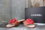 Chanel Red CC Logo Camellia Canvas Slides 8