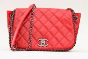 Chanel Red Glazed Distressed Chain Around Flap