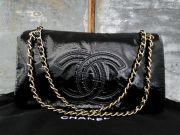 Chanel Black Vinyl Rock & Chain Flap Bag