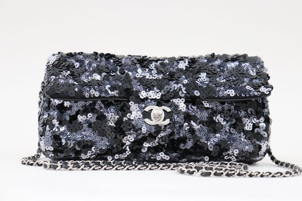 Chanel Black Silver Sequin Flap Bag