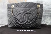 Chanel Black Caviar Leather Large Shopping Tote