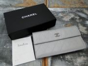 Chanel Silver Lambskin Long Wallet