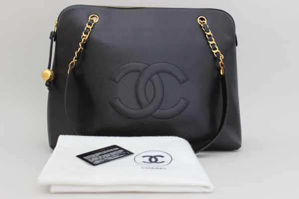 Chanel Vintage Timeless Black Caviar Jumbo Shopping Tote