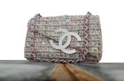 Chanel Tweed Flap Bag Pink