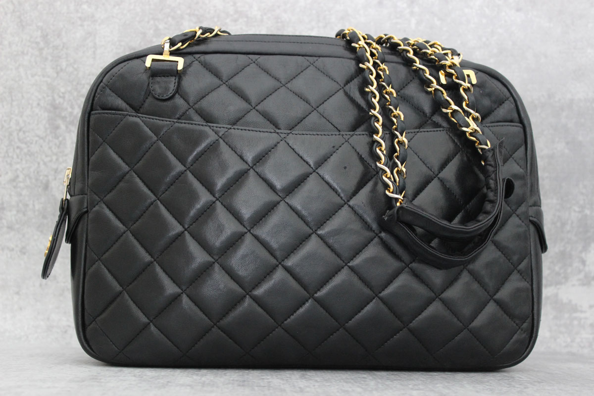 0c9794a11988 Chanel Vintage Black Quilted Lambskin Shoulder Bag. Tap to expand