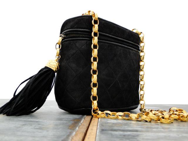 5063d7492f45 Chanel Vintage Black Suede Bag Leather Tassel & Chain Strap