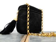 Chanel Vintage Black Suede Bag Leather Tassel & Chain Strap