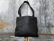 Chanel Vintage Small CC Stitched Logo Tote Black