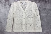 Chanel White Crochet Knit Cropped Cardigan 34