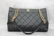 Chanel Black Caviar Quilted Wild Stitch Tote