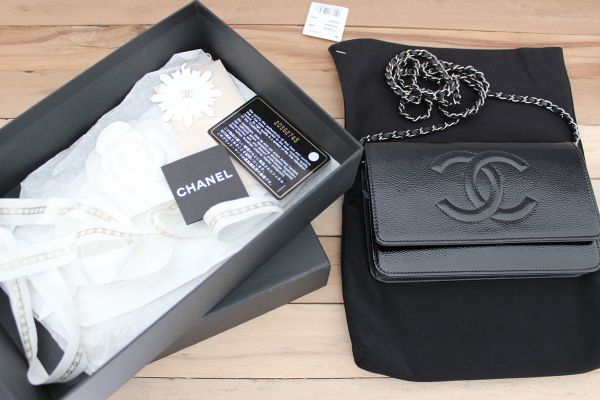 Chanel Black Patent Leather Caviar Wallet On Chain