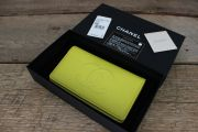 Chanel 14P Yellow Caviar Leather Long YEN Wallet